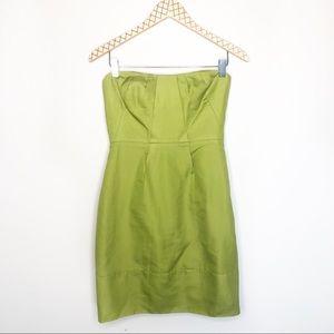 J. Crew Erica Green Strapless Cotton Dress